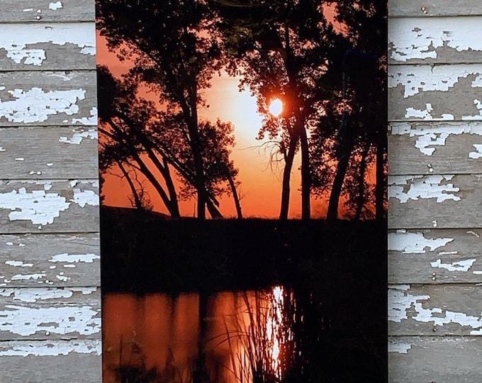 Ethan Lake Full Moon Photography Scenic Decor Orange Sky Mother's Day gift for her South Dakota 24x36 Metal Print Photo by Nicole Heitzman