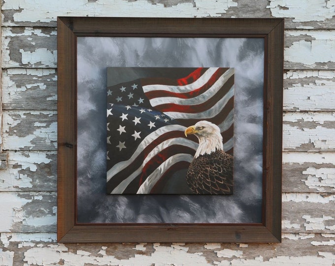 Eagle art Boundless Territory Flag Patriotic USA painting America Gift for soldier men women Wildlife Art Canvas Wrap Print Nicole Heitzman