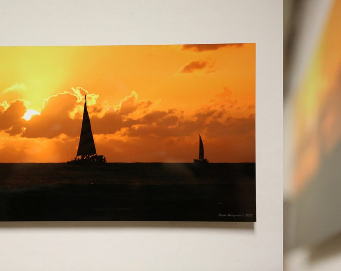 Sailboat Photography Mother's day Gift for Mom Sunset Photography Honolulu photo Hawaii photography Metal Print Ocean Scenery Beach photo