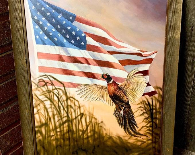 Dakota Freedom Pheasant Print USA America Flag Art Pheasant Painting Wildlife art Man Cave Art Limited Edition Canvas print Nicole Heitzman