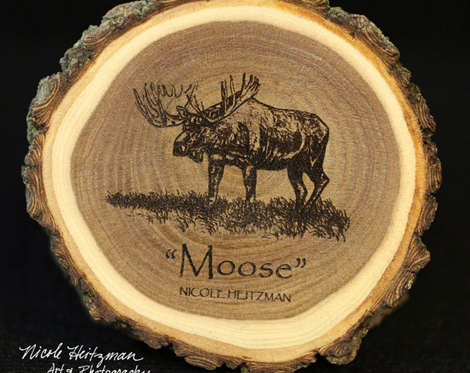 Father's Day Gift for Dad Moose Art Wildlife Art Moose Coaster Lodge decor Cabin Decor Man Cave Decor Hunting Art Wood Coasters by Heitzman