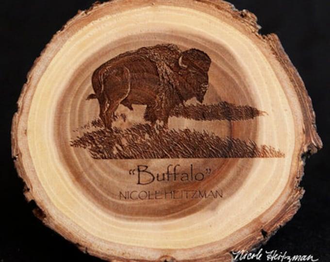 Christmas Father's Day Gift for him Buffalo Art Buffalo Coasters Wildlife Art Lodge Man Cave Decor Bison Wood Coasters by Nicole Heitzman