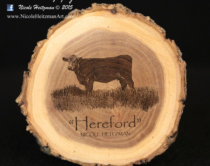 Father's day Gifts for men Grandpa Hereford Art cow coaster Cattle Art  Farm Art Man Cave Decor Hereford Wood Coasters by Nicole Heitzman