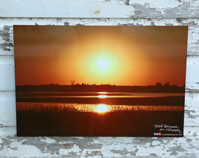 Prairie Sunset Photography South Dakota Wetlands Gift for farmer hunter Country Scenery Farm Lodge Cabin Decor Metal Print Nicole Heitzman