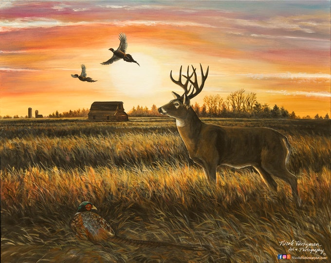 October Skies Whitetail Deer Pheasant painting Art Father's Day Gift for Dad hunter rustic cabin decor Wildlife Art Painting Canvas Print