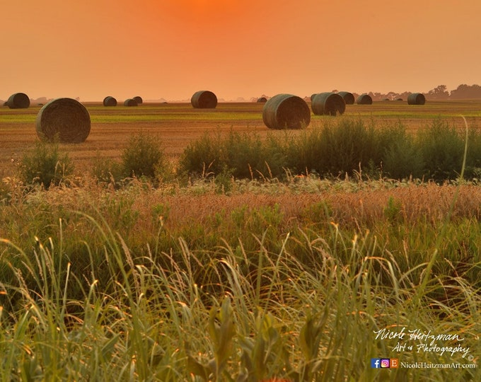 Straw Bale Sunset Wheat Field Harvest Photography Midwest Country Decor gift for Farmer South Dakota Scenery Metal Print by Nicole Heitzman