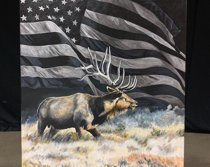 Freedom bull elk print painting USA art American Flag Elk Hunting Limited Edition Canvas Giclee Art print Nicole Heitzman