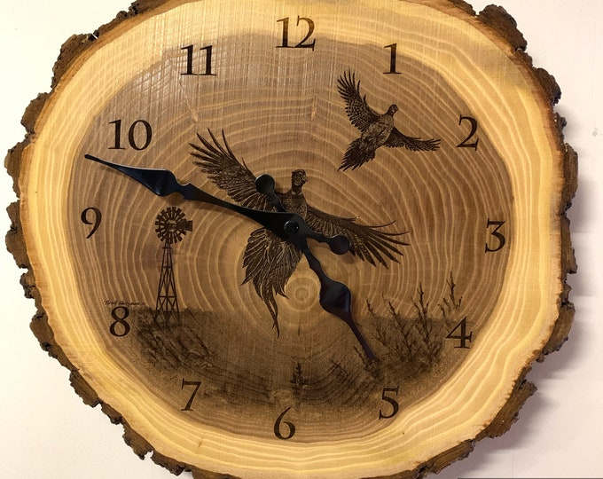 Wings in the Wind Pheasant Art Engraved Wood Clock Pheasant hunting gift lodge Wildlife art Father's Day gift for Dad men Cabin man cave Art