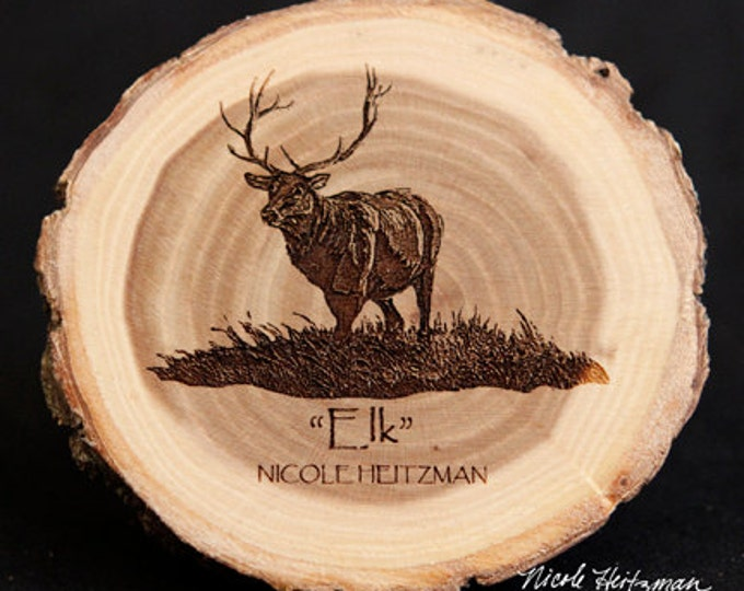 Gift for Dad Wildlife Art Elk Art Elk Coaster Wood Art Lodge decor Cabin Decor Man Cave Decor Hunting Art Wood Coasters by Nicole Heitzman