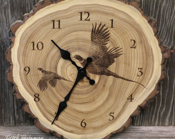 Ready to ship Father's Day gift for Dad men Engraved Wood Clock Pheasant Clock Wildlife art Lodge Cabin Art Man cave pheasant hunting art