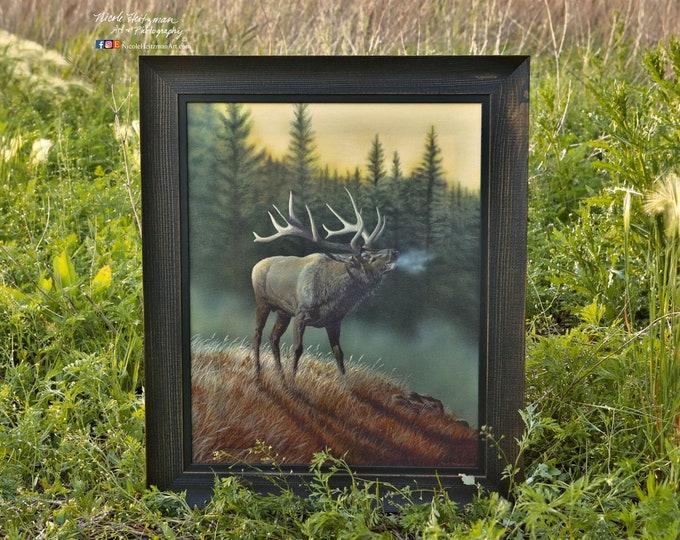 """Honor the Call"" Elk Art Canvas Giclee print by Nicole Heitzman"
