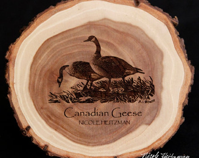 Canada Geese Art Goose Coaster Wood Art Father's day gift for men Dad Lodge decor Cabin Art Man Cave Decor Wood Coasters by Nicole Heitzman