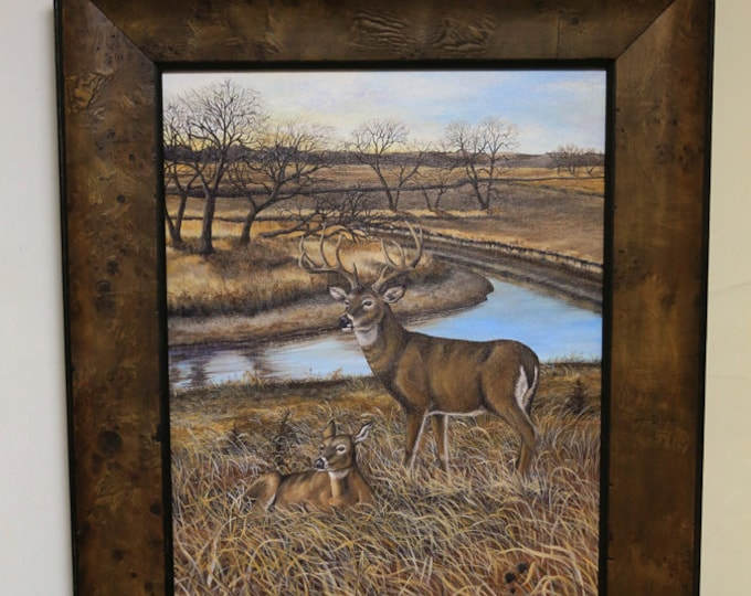 Fathers Day gift Gift for men White-tailed Deer Print Deer Art Deer Painting Wildlife art Man Cave Art Limited Edition Canvas print Heitzman