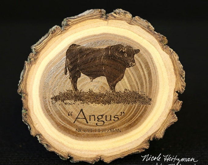 Father's day Gifts for men Grandpa Angus Art bull coaster Cattle Art Farm Art Man Cave Decor Angus Cow Art Wood Coasters by Nicole Heitzman