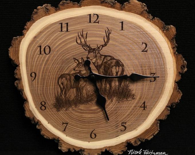 Mule Deer Buck and Doe Clock deer hunting art Engraved Wood Clock Wildlife art Father's Day gift for Dad men Lodge decor Cabin Art Man cave
