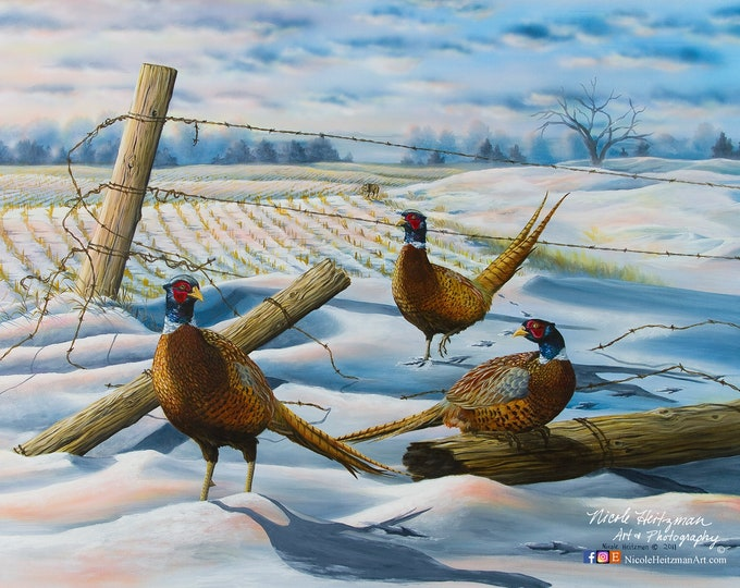Moment's Rest Pheasant Painting Canvas Giclee Art Print by Nicole Heitzman Pheasant hunting Gift for Dad men hunter cabin lodge wildlife Art