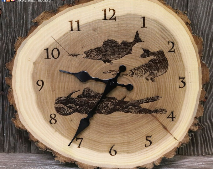 Engraved Wood Clock Walleye Fish Art walleye Clock fishing art Father's Day gift for Dad men fishermen Lodge Cabin river Art Man cave decor