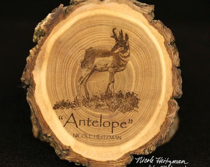 Christmas Gift for him Antelope Art Father's Day Gift for men wood Antelope Coaster Man Cave Wildlife Art Cabin Lodge Decor Pronghorn Art