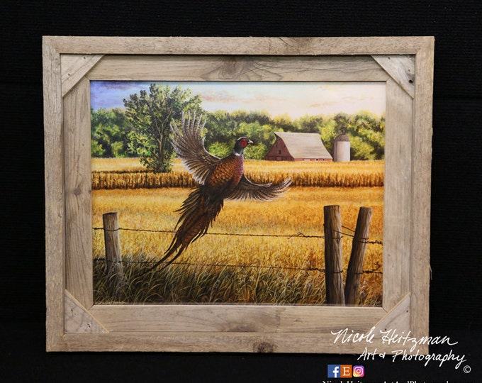 Homestead Heritage Pheasant Painting Christmas gift for Dad Ring-necked Pheasant Art Father's Day gift for men hunter gift wildlife print