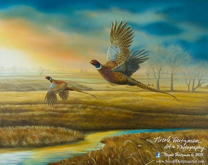 Pheasant Creek Pheasant hunting Art Christmas Gift for Dad him hunter Pheasant Print rustic cabin decor Wildlife Art Painting Canvas Print