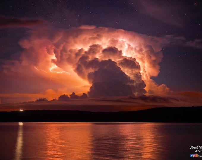 Missouri River Lightning Photo Thunderhead Photography 24x16 Metal Print South Dakota scenery Thunderstorm Photography by Nicole Heitzman