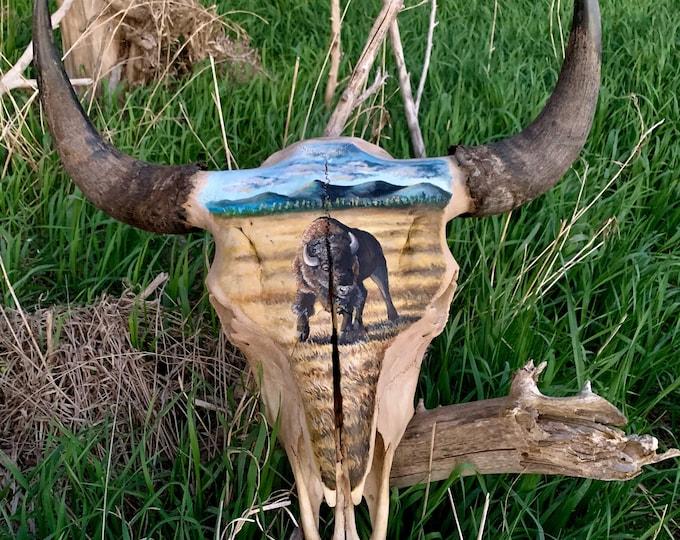 Painted Buffalo Skull Art Original Acrylic Painting American Bison Art skull Decor Father's Day Gift by South Dakota Artist Nicole Heitzman