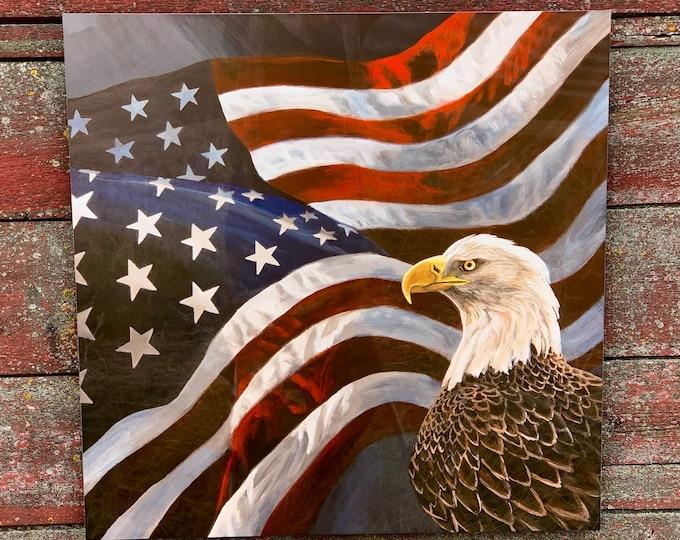"""Undivided"" Eagle & USA Flag Metal Art Print by Nicole Heitzman"