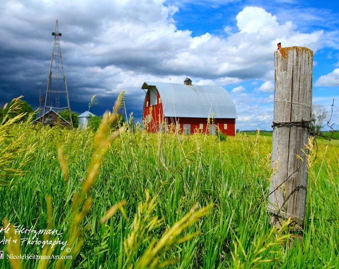 Barn Photo Barn Photography Farm Photo Thunderstorm in South Dakota Gift for Dad men Metal Print Storm Photography by Nicole Heitzman