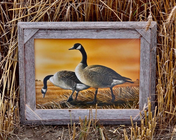 Harvest Wheat Field Canada Goose Painting Gift for men Geese Waterfowl Hunting Print Wildlife Art Decor Cabin Man Cave by Nicole Heitzman