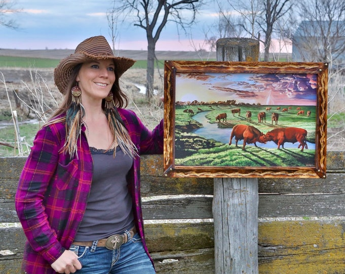 Thunder on the Prairie Red Angus bulls cattle painting Art print livestock farm painting Father's Day Gift for men farmer dad Canvas Print