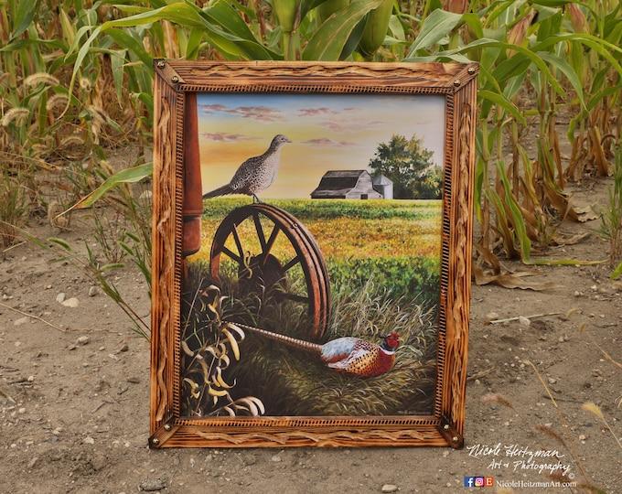 On the lookout Canvas print Pheasant Art Print Pheasant Painting Pheasant Hunting Gift for men Dad Farm Print Wildlife Art Nicole Heitzman