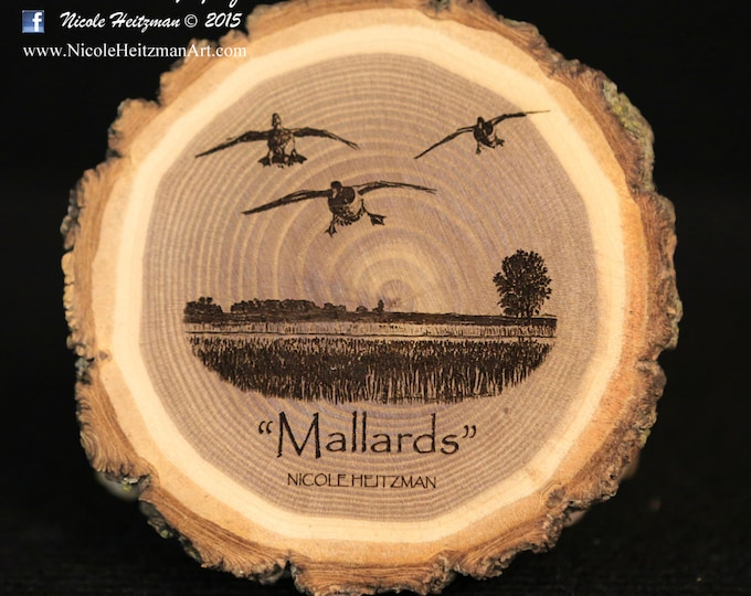 Father's Day Gift for men Mallard Art Duck Art Duck Coaster Wood Art Lodge decor Cabin Decor Man Cave Decor Wood Coasters by Nicole Heitzman