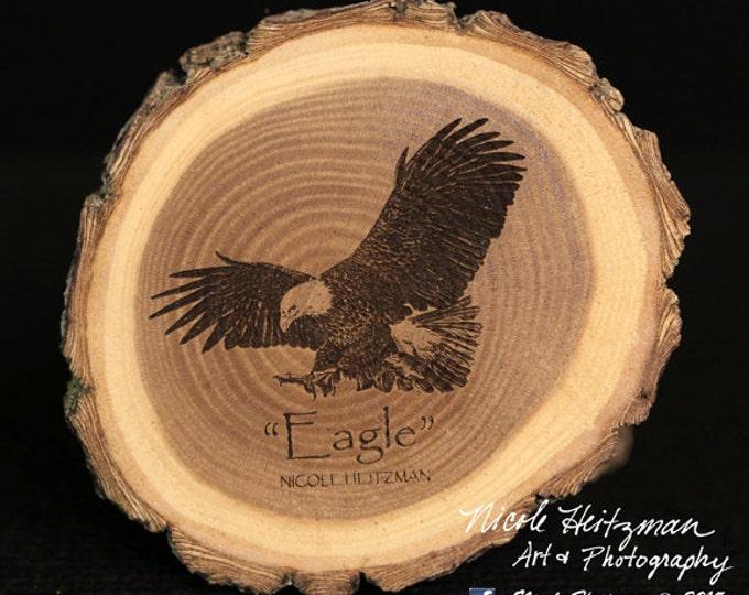 Gift for Dad Eagle Art Eagle Coaster Wildlife Art Lodge decor Cabin Decor Man Cave Decor bird of USA Art Wood Coasters by Nicole Heitzman