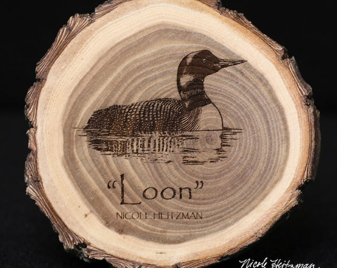 Loon Art Wood Coaster Father's Day gift for Dad men Waterfowl Art Wildlife Art Lodge Cabin Decor Man Cave Rustic Decor by Nicole Heitzman
