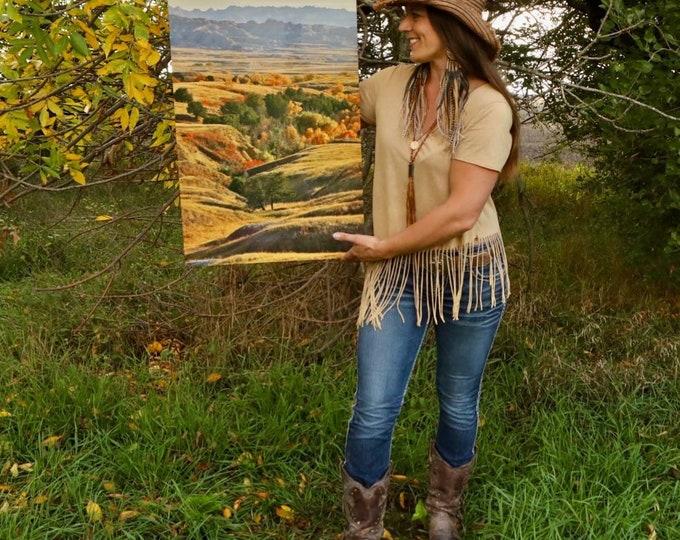 Badlands Fall Foliage Tree Photography Autumn Scenery South Dakota Photo 20x30 Metal Print Gift for men women by Nicole Heitzman