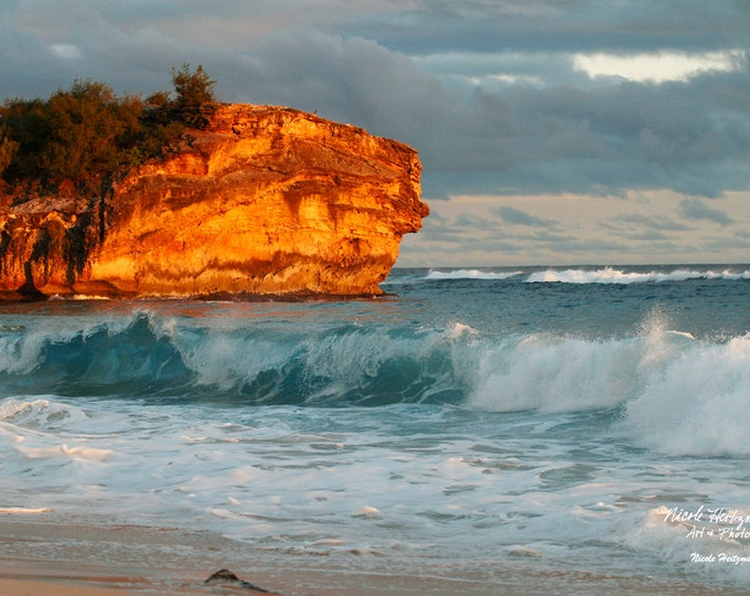 Hawaii Shipwreck Beach Cliff Kauai Beach Photography Ocean Scenery Beach Decor Teal decor Ocean Waves Photo Sand Photo by Nicole Heitzman