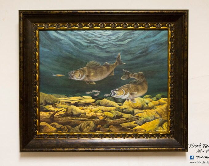 Father's Day Gift for men Walleye Print Fish Art Walleye Painting Walleye Art  Fishing Art Anticipated Catch Limited Edition Canvas print