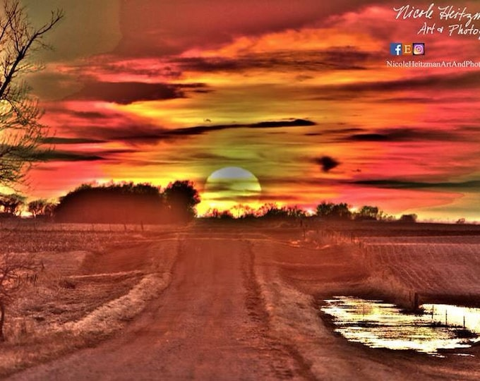 Country road sunset Photography HDR Photography Rural Country Scenery Country Decor sunset Scene Spring Photography gift for mom her mothers