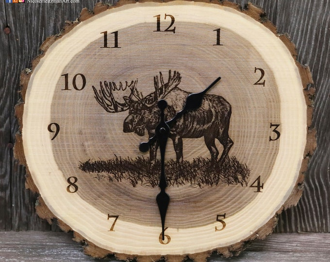 Moose Art Engraved Wood Clock Moose Clock Wildlife art Father's Day gift for Dad men Lodge Cabin Art Man cave hunting art by Nicole Heitzman