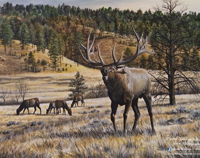 Elk Print Imperial Majesty Elk Art Elk Painting Elk Hunting Imperial Majesty Canvas Print Gift for Dad Black Hills Scenery Nicole Heitzman