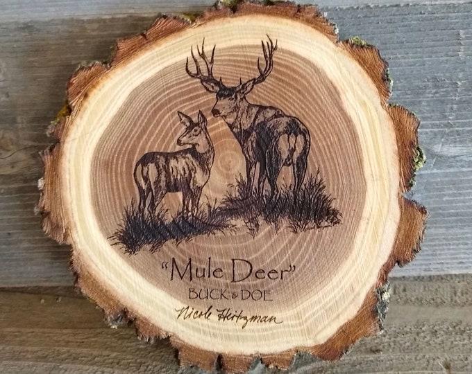 Mule deer art engraved wood coaster art Father's Day Gift for men dad Deer Coaster Deer Art Man Cave Wildlife art Decor Cabin Lodge Decor