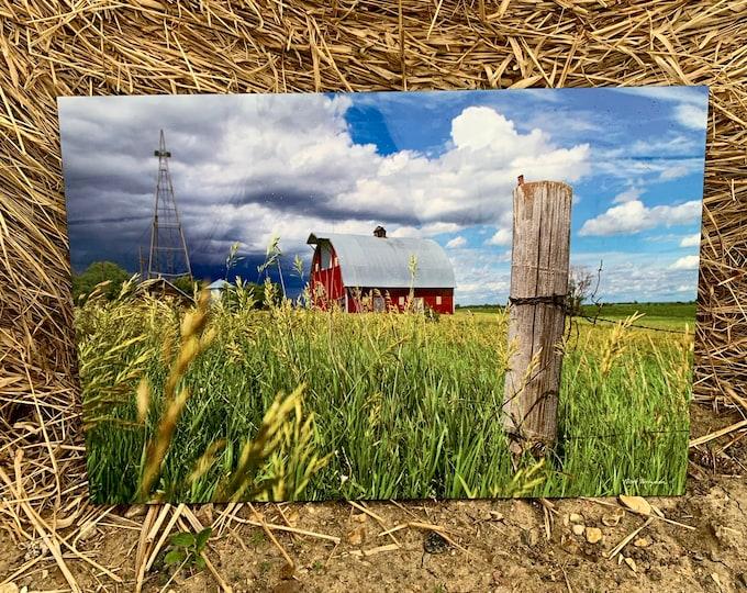 Thunderstorm Barn Photo windmill Photography Gift for Farmer Dad Men Mom Country Decor Farm Scenery Farmstead Art Print by Nicole Heitzman