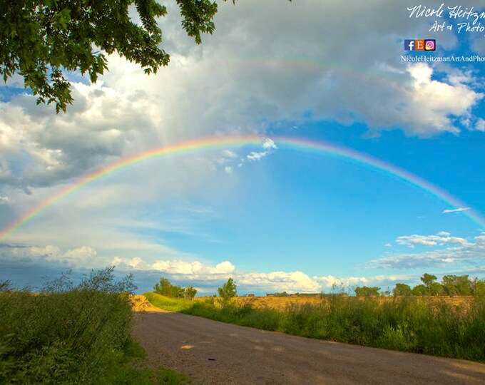 Rainbow and Thunderstorm Photography Storm Photo Gift for her South Dakota Cloudy Sky Scenic Photography HDR Metal Print by Nicole Heitzman