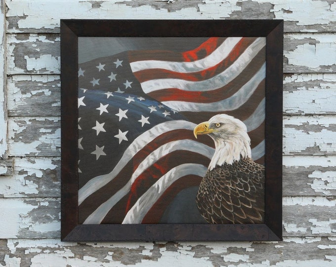 Eagle art Boundless Territory Flag Patriotic USA painting America Gift for soldier men women Wildlife Canvas Giclee print Nicole Heitzman