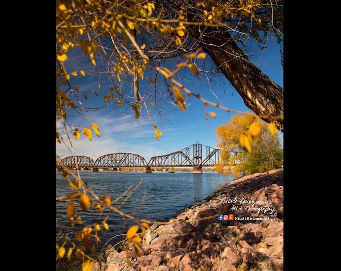 Fall Trees & Bridge Photography Autumn scenery Metal Print Missouri River South Dakota wall decor Photo Gift for him her by Nicole Heitzman
