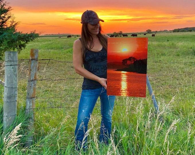 River Sunset Reflection Cabin Decor Fishing Decor Sunset Scenery River Scenery Tree Photography South Dakota Metal Print by Nicole Heitzman
