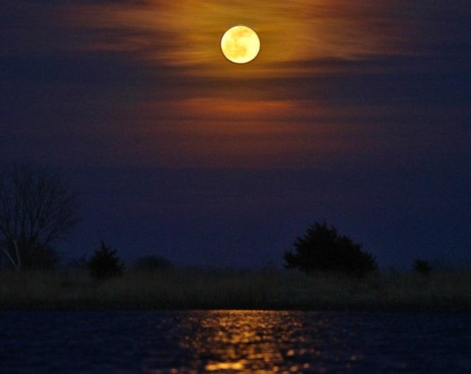 Full Moon Photography Reflection Photo Night moonlight Metal Print South Dakota scenery by Nicole Heitzman