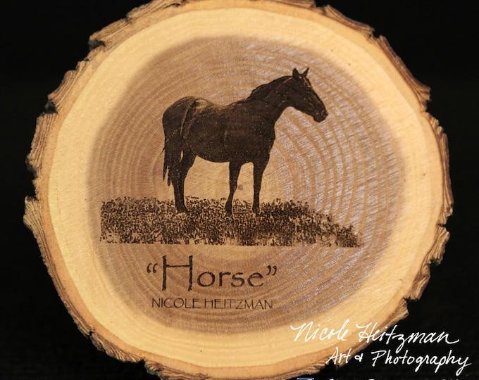 Christmas Gift Horse Coaster Horse Art Man Cave Decor Western Decor Ranch Decor Horse Decor Deer Art Horse Coaster Wood Coaster