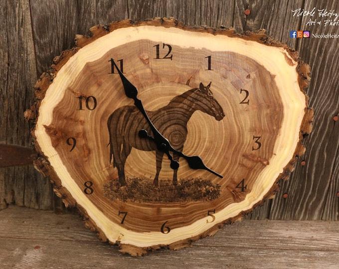 Horse clock Art Engraved Wood Clock Horse art Western art Father's Day gift for Dad men farmer rancher farming Art farmhouse decor ranch art