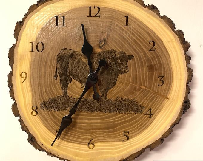 Angus Bull Art Engraved Wood Clock Angus Clock Cattle clock art Father's Day gift for Dad men farmer livestock Art Man cave farming art